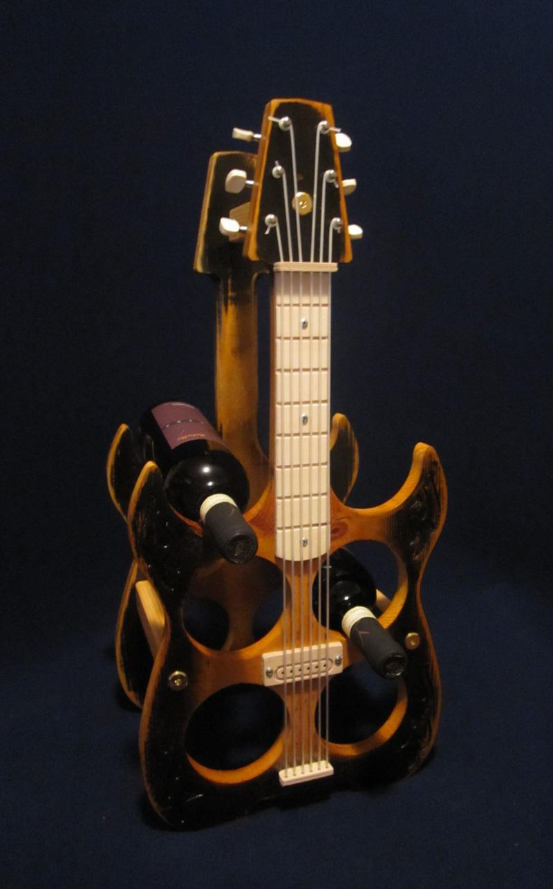 electric Guitar Wine rack Ebony Amber Pine